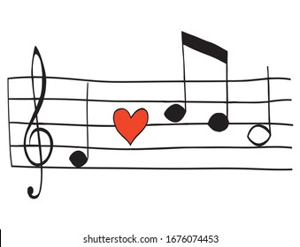 music note sound of music heart love love song Valentines day