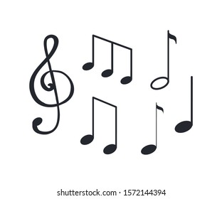 Music notes, notation tablature of sounds sketch isolated icons raster. La and minim, semiquaver and crochet melody. Visual representation symbols