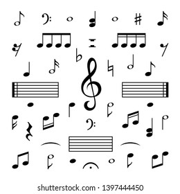 Music notes set. Musical note treble clef silhouette signs  isolated melody symbols set