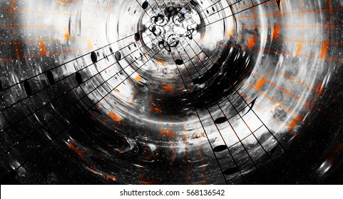 music notes and silhouette of music speaker in space with stars. abstract color background. Music concept.