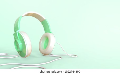 Music online Enjoy listen Creative Concept and Headphones on Green background. Minimal, design for banner, Copy space-3d Rendering