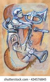 music pause in cafe,  ink and pencils original drawing on recycle paper