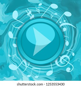 Music play button in maelstrom of musical notes