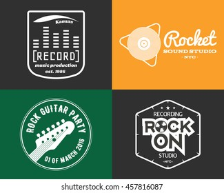 music production studio logos set. Musical label icons. Music insignia and emblems print or logotype. Guitars badge for sound recording studio t shirt, sound production. Podcast, radio badges.