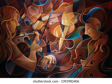 Music quartet oil painting with original effect, violin, viola, cello. Group of musicians playing a quartet. Classical music quartet. Oil painting of musicians playing. Futurism painting. Quartett