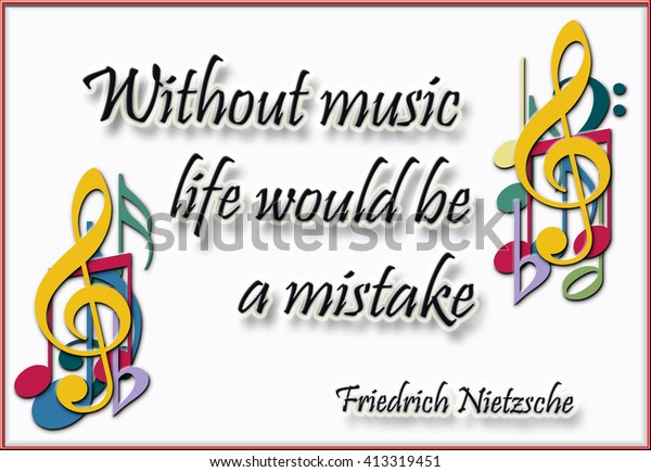 Music Quote Nietzsche Decorated Musical Notes Stock