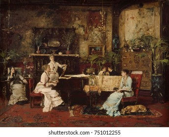 THE MUSIC ROOM, by Mihaly Munkacsy, 1878, Hungarian painting, oil on wood. A fashionable musical party takes place in the artists Paris home on the Avenue de Villiers. Munkacsy trained in central Euro