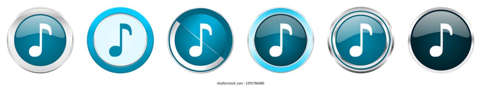 Music silver metallic chrome border icons in 6 options, set of web blue round buttons isolated on white background