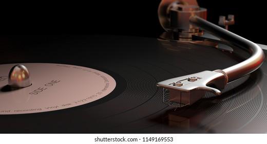 Music, sound. Vintage vinyl LP record player, closeup view with details. 3d illustration