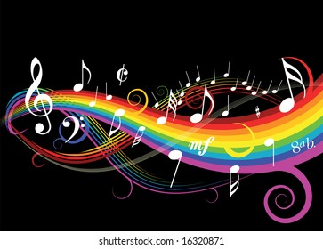Music theme with rainbow