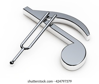 Music Tuning Fork over Note on a white background. 3d Rendering