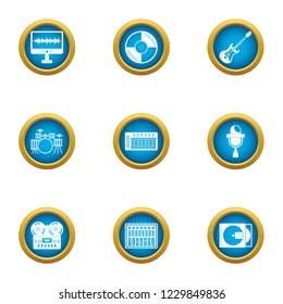Musical accompaniment icons set. Flat set of 9 musical accompaniment icons for web isolated on white background