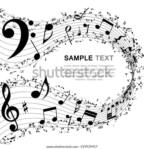 Musical background.  Raster illustration.
