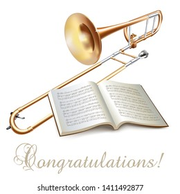 Musical background series. Classical trombone, isolated on white background with musical notes and Congratulation wording