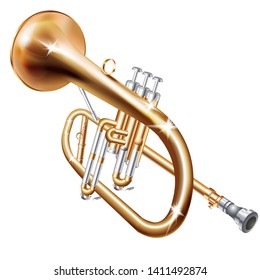 Musical background series. Classical trumpet, isolated on white background