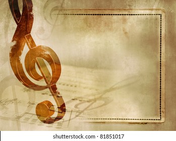 Musical background in vintage style - sheet music with wooden treble clef and notes on old paper texture with frame - artistic musical grunge design