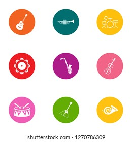 Musical collective icons set. Flat set of 9 musical collective icons for web isolated on white background