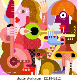 Musical female duet and a cat graphic art illustration. Woman playing guitar, another woman playing trumpet, the big cat rubs against the legs.