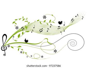 musical green background - illustration