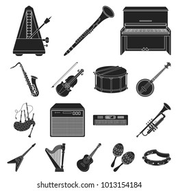 Musical instrument black icons in set collection for design. String and Wind instrument bitmap symbol stock web illustration.
