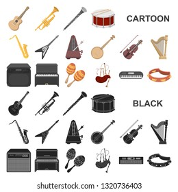Musical instrument cartoon icons in set collection for design. String and Wind instrument bitmap symbol stock web illustration.