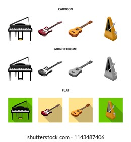 Musical instrument cartoon,flat,monochrome icons in set collection for design. String and Wind instrument isometric bitmap symbol stock web illustration.
