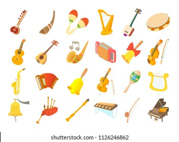 Musical instrument icon set. Cartoon set of musical instrument icons for web design isolated on white background