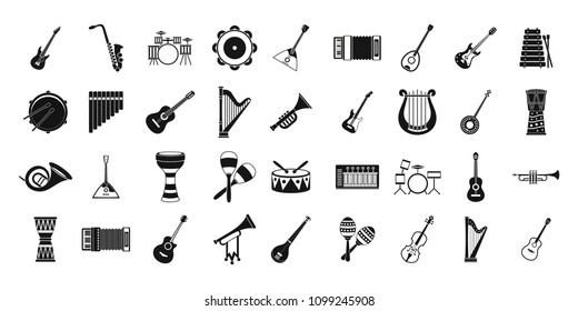 Musical instrument icon set. Simple set of musical instrument icons for web design isolated on white background