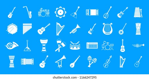 Musical instrument icon set. Simple set of musical instrument icons for web design isolated on blue background