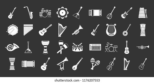 Musical instrument icon set white isolated on grey background