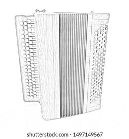 Musical instrument - retro bayan. Pencil drawing. 3D illustration