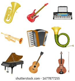 Musical instruments collection on white background. 3 d-illustration