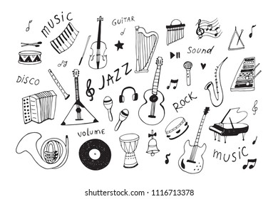 musical instruments doodle hand drawn illustrations set