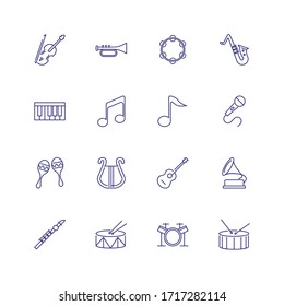 Musical instruments icons. Set of line icons on white background. Music band, concert, orchestra. Music concept. can be used for topics like leisure, performance, art