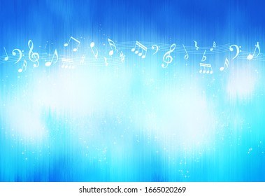 Musical notes and blue lines (abstract)
