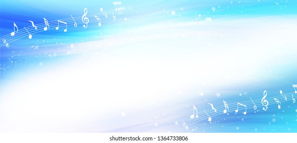 Musical notes and blue waves