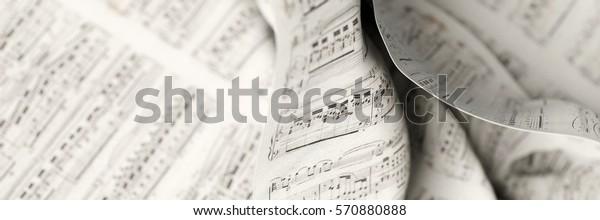 Stoffhintergrund für musikalische Noten, 3D-Darstellung