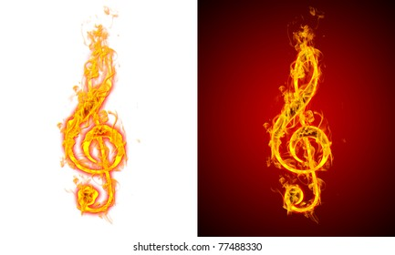musical notes fire on a red and white background