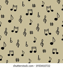 musical notes on a beige background