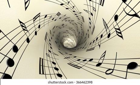 Musical notes on old vintage paper