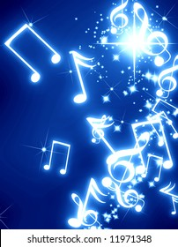 musical notes with sparkles on a blue background