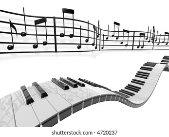 A musical score waving and bending behind some piano keys over a white background.