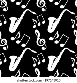 Musical seamless pattern with silhouettes music notes, treble clef, saxophone in black and white. Music background - raster version