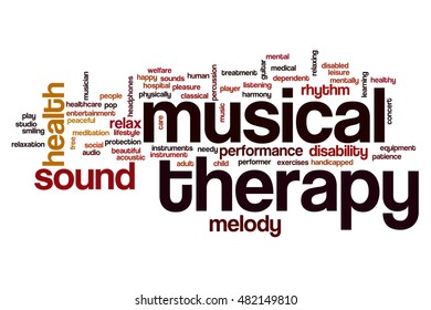 Musical therapy word cloud concept