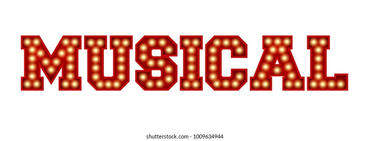 Musical word made from red vintage lightbulb lettering isolated on a white. 3D Rendering
