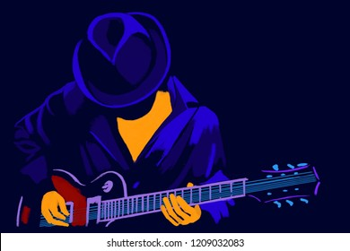 Musician with a guitar. Performer of Blues and jazz.