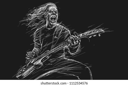 Musician with a guitar. Rock guitarist guitar player abstract illustration sketch style with expressive lines.