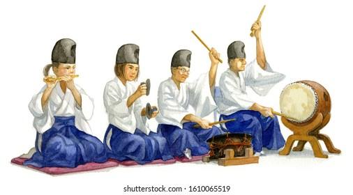 Musicians of Kagura Dance performance