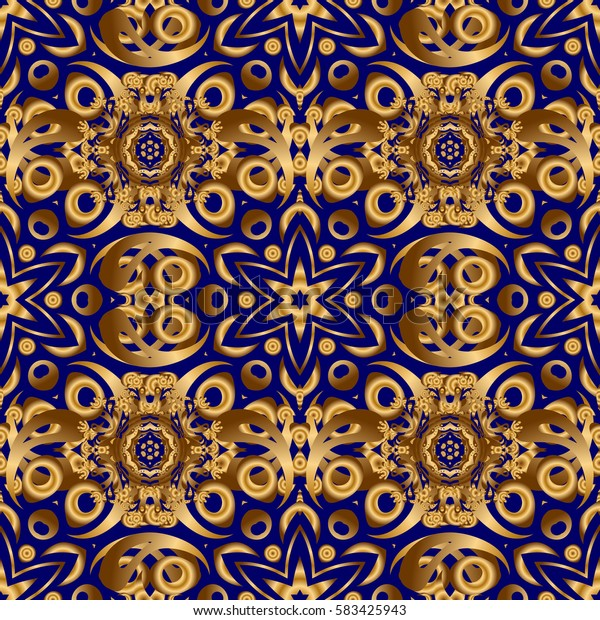 Muslim, East ornament, Indian ornament, Persian motif. Islamic oriental seamless pattern. Abstract golden circle ornament on blue background. Can be used for wallpaper, banner, wrapping, wedding cards