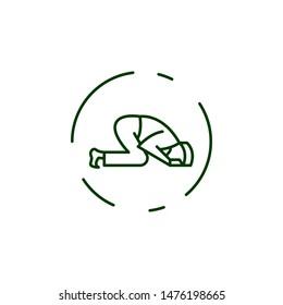 Muslim man prayer sujud icon. Element of prayer man line icon